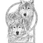 Canis Lupus II - Wolves - Mates For Life  Art Print