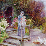 Woman And Child In A Cottage Garden Art Print