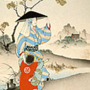Woman And Child  Art Print by Ogata Gekko