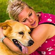 Woman And Dog. Art Print