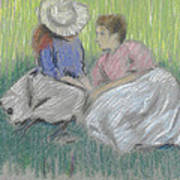 Woman And Girl On The Grass Art Print