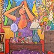 Woman At Dressing Table Art Print by Chaline Ouellet