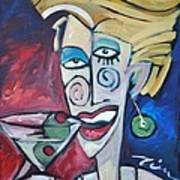 Woman At Martini Bar Art Print