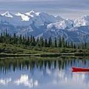 Woman Canoeing In Wonder Lake Alaska Art Print
