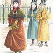 Woman Carrying Bunch Of Mistletoe Art Print