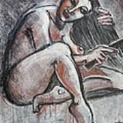Woman Combing Her Hair - Nudes Art Print