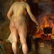 Woman Cooking Over An Open Fire Art Print