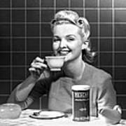 Woman Drinking Nescafe Art Print by Underwood Archives