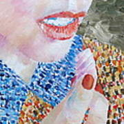 Woman Eating Marshmallow- Oil Portrait Art Print