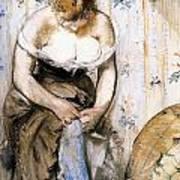 Woman Fastening Her Garter Art Print