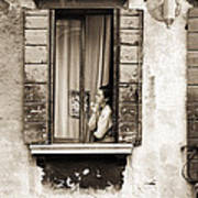 Woman Gazing Out Of A Window Contemplating Art Print by Stephen Spiller