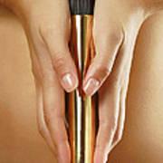 Woman Holding A Gold Vibrator Art Print