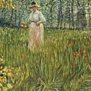 Woman In A Garden Art Print by Vincent van Gogh