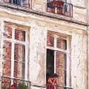 Woman In A Paris Window Art Print