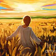 Woman In A Wheat Field Art Print
