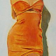 Woman In Orange Dress Art Print