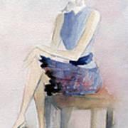 Woman In Plaid Skirt And Big Sunglasses Fashion Illustration Art Print Art Print