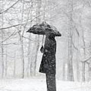 Woman In The Forest With An Umbrella Art Print