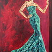 Woman In The Green Gown Art Print by Lee Ann Newsom