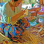 Woman Making Umbrella Ribs At Borsang Umbrella Factory In Chiang Mai-thailand Art Print