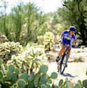 Woman Mountain Biking In Arizona Art Print