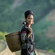 Woman Of Black Hmong Hill Tribe Next To Art Print