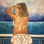 Woman On A Yacht Art Print