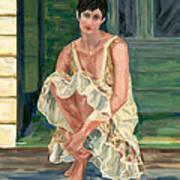 Woman On Porch Art Print