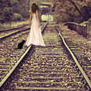 Woman On Railway Line Art Print