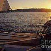 Woman On Sailboat Sunset Art Print