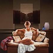 Woman On Sofa Art Print