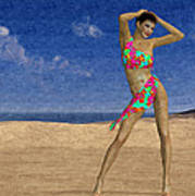 Woman On The Beach... Art Print