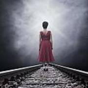 Woman On Tracks Art Print