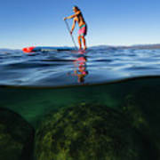 Woman Paddleboarding In The Lake, Lake Art Print