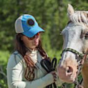 Woman Pets A Horse Art Print