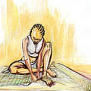 Woman Plaiting Mats In Rwanda Art Print
