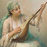 Woman Playing A String Instrument Art Print