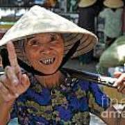 Woman Portrait At Market In Hue Art Print by Sami Sarkis