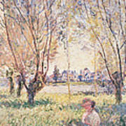 Woman Seated Under The Willows Art Print