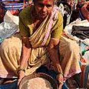 Woman Sifting In A Street Market India Art Print