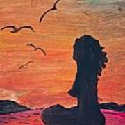 Woman Silhouette On The Beach - Kid's Painting Art Print