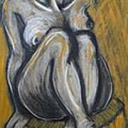 Woman Sitting On Round Chair 2- Female Nude  Art Print