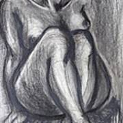 Woman Sitting On Round Chair - Female Nude Art Print