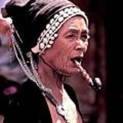 Woman Smokes Opium Pipe Art Print
