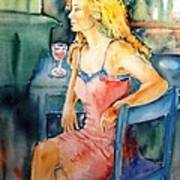 Woman Waiting  Art Print by Trudi Doyle