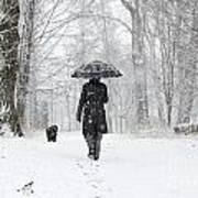 Woman Walking In A Snowy Forest Art Print
