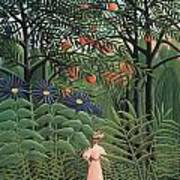 Woman Walking In An Exotic Forest Print by Henri Rousseau