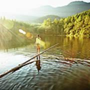 Woman Walking On Log In Alpine  Lake Art Print