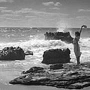 Woman Waving On Shore Art Print