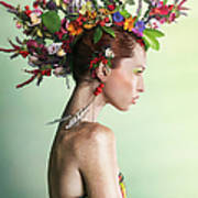 Woman Wearing A Colorful Floral Mohawk Art Print